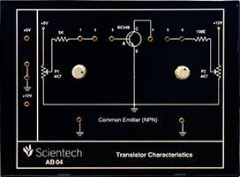 Scientech AB04 Common Emitter NPN Transistor Characteristics is a compact, ready to use Transistor Characteristics experiment board. This is useful for students to plot Input, Output & Constant Current Transfer Characteristics of NPN transistor in Common Emitter configuration and to understand active, cutoff and saturation region of operation of NPN transistor.  Scientech Analog Electronics Experiment Boards are designed as a comprehensive Modular solution for beginners to explore the…