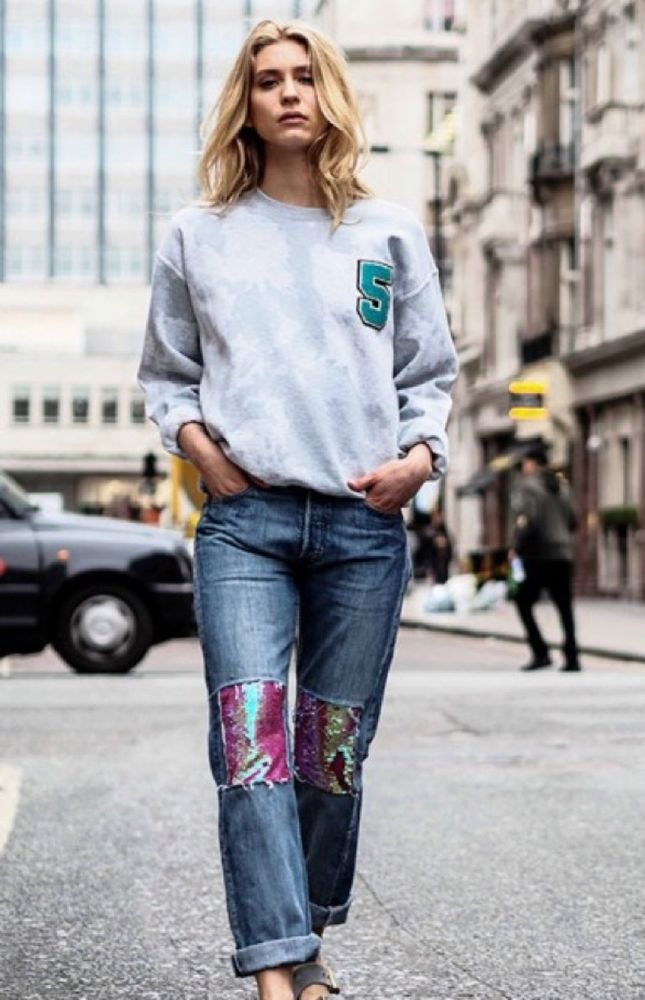 *Sold Out!* Sequin Patch Jeans by TOPSHOP FINDS Levi 501s S Limited Edition  #TOPSHOPFINDS #Boyfriend