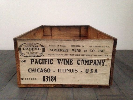 Vintage French Wine Crate / Rustic Wooden Crate