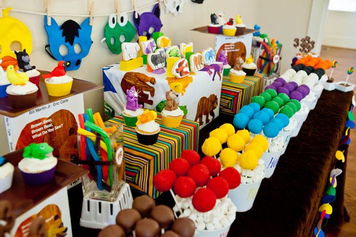 I don't remember reading Eric Carle's Brown Bear book but what a fun & colorful birthday party // via Amy Atlas