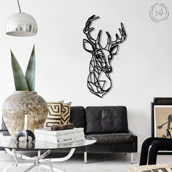 Deer Head Metal Wall Art Geometric Animals Wall Sign Wall Etsy Metal Wall Art Stylish Wall Art Deer Wall Art