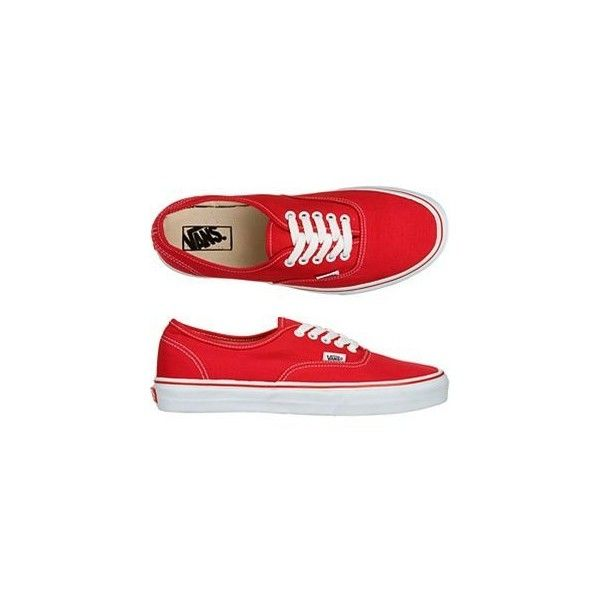 Vans Authentic Red Lace-Up Deck Shoes ($20-50) ❤ liked on Polyvore featuring shoes, boat style shoes, boat shoes, laced shoes, lace up boat shoes and red lace up shoes