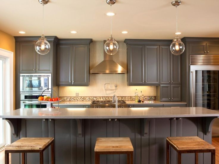 Featured Fantastic Dark Grey Wooden Americana Chalk Paint Kitchen Cabinets Sets With Recessed Downlight Plus