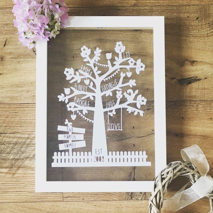 A personal favourite from my Etsy shop https://www.etsy.com/uk/listing/399907087/family-tree-papercut-family-tree
