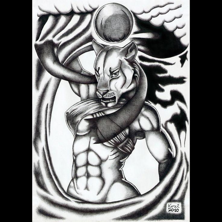 Goddess Sekhmet | ballpoint pen drawing | 2010 on Behance