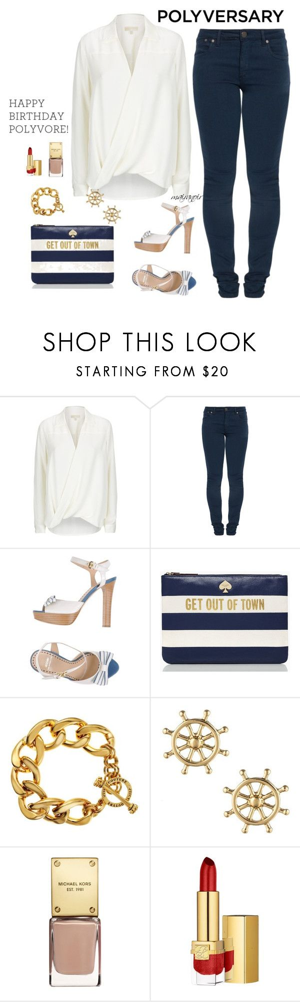 """Untitled #538"" by mairanoir ❤ liked on Polyvore featuring MICHAEL Michael Kors, dVb Victoria Beckham, Moschino Cheap & Chic, Kate Spade, Juicy Couture, Sperry, Estée Lauder, polyversary and contestentry"