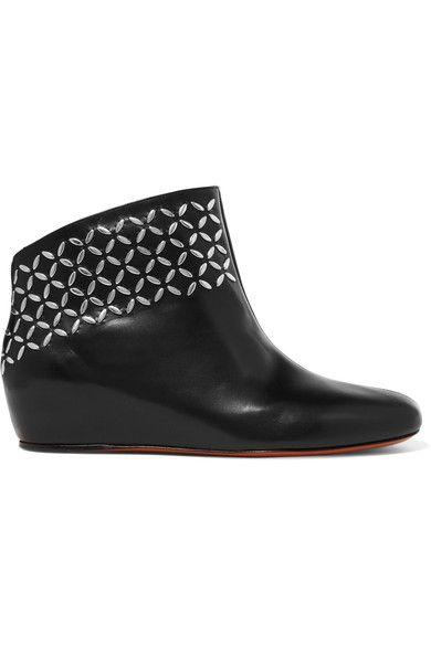Alaïa - Embellished Leather Wedge Ankle Boots - Black