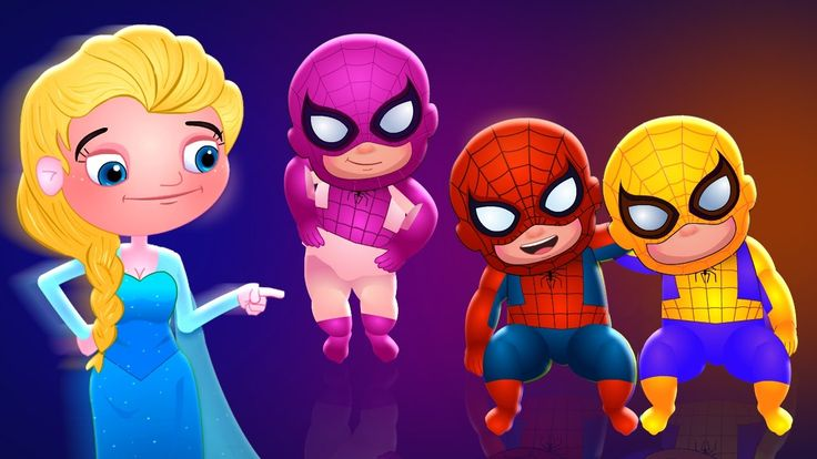 Five Little Spiderman and Elsa | Nursery Rhymes For Children