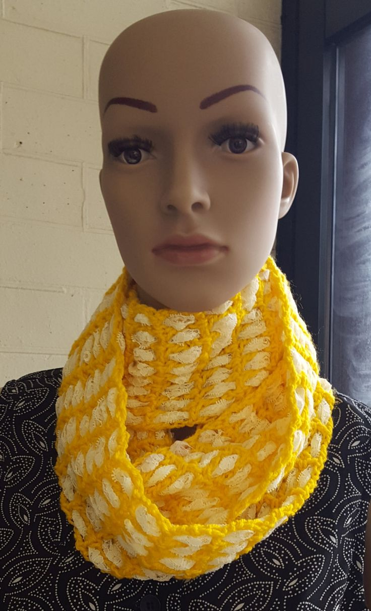 Yellow and White Crochet and Lace Infinity Scarf, Circle Scarf, Woollen Scarf, Infinity Cowl, YellowScarf by KalaaStudio on Etsy
