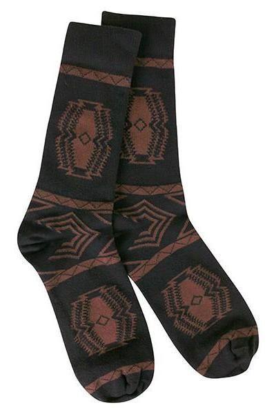 Men's Aztec Socks, Black