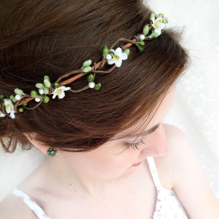 Green White Hair Circlet Pippa Bridal Or Flower Head Wreath 58 00