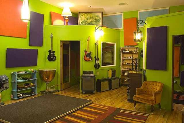 The bright green live room at Jackpot! Recording in Portland.