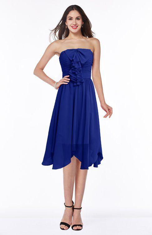Best Nautical Blue Modern A line Strapless Chiffon Knee Length Pick up Wedding Guest Dresses