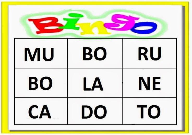 BINGO DAS SÍLABAS - 1º ANO