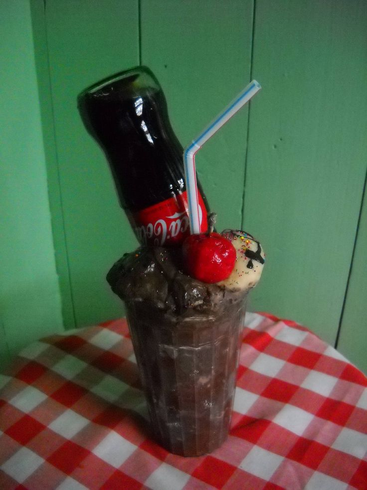 Fake Food Prop, Fake Food Staging, Fake Coca-Cola Ice Cream Float with Real Coke Bottle, Retro Diner Food Prop, Fake Coke Stage Prop by FakeFoodGalore on Etsy