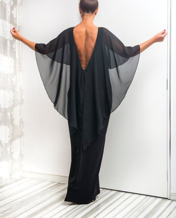 Black Backless dress Maxi Dress Caftan by cherryblossomsdress