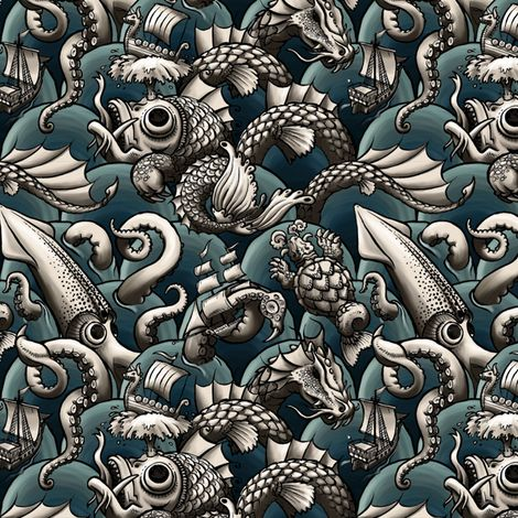 sea monsters (blue sea) fabric by raul on Spoonflower - custom fabric