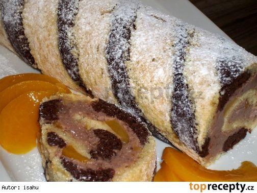 Pruhovaná roláda s kakaovým krémem a broskvemi