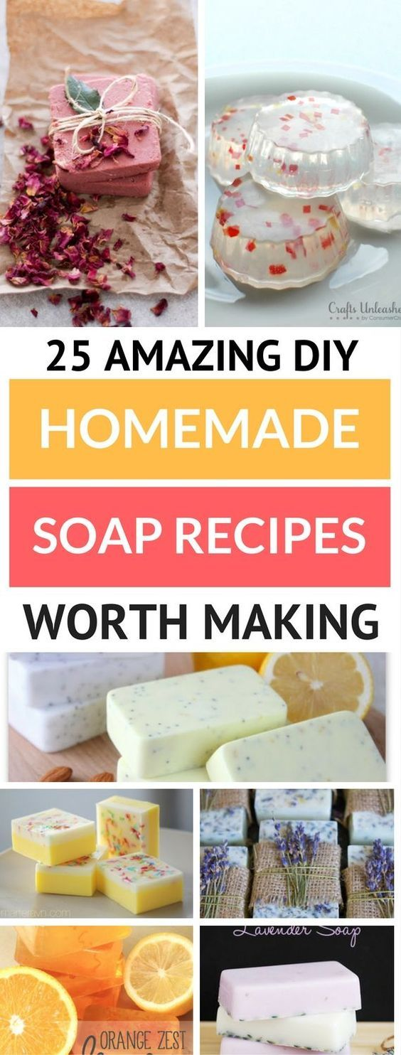 25 Easy And Unique Homemade Soap Recipes that are even great for beginners. Contains great tutorials which include making soap with essential oils and more. With these easy soap recipes, they turn out so great and smell amazing. Awesome way to gift someone too!