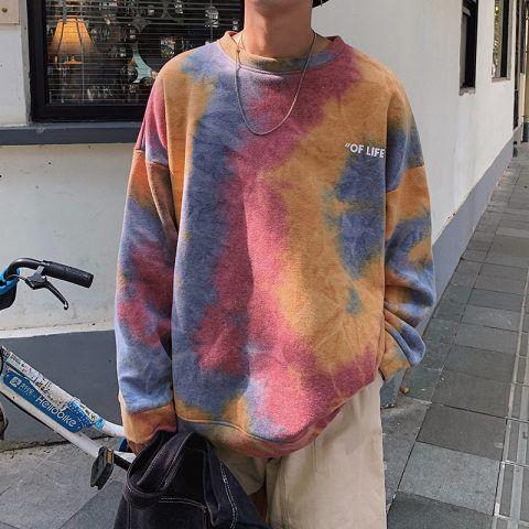 Hoodies + Sweatshirts, Loose tie-dye couple sweatshirt Diy Tie Dye Sweatshirt, Sweat Shirt, Tie Dye Shirts, Sweatshirt Outfit, Cut Shirts, Band Shirts, Tye Dye, Bleach Tie Dye, Streetwear