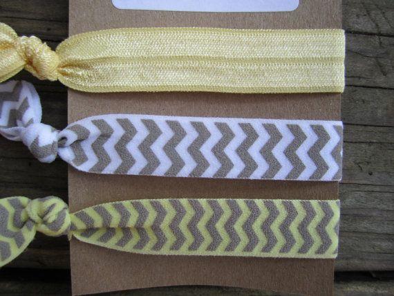 Yellow Chevron Creaseless Hair Ties... Chevron Elastic Hair Ties on Etsy, $3.00