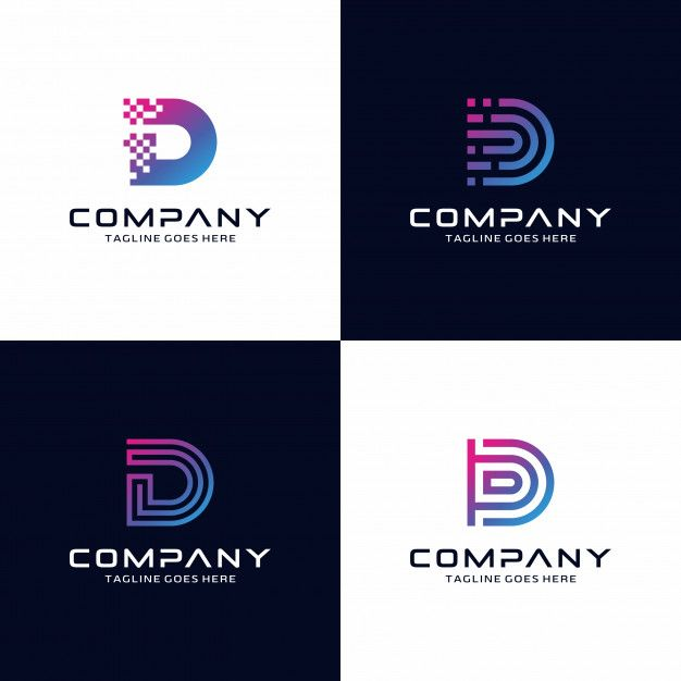 Set Of Abstract Letter D Tech Logo Design Template For Your