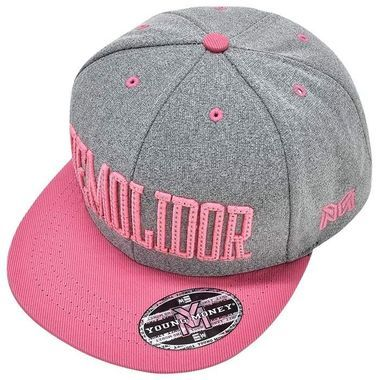 Boné Young Money Demolidor Moleton Snapback Cinza Rosa Claro