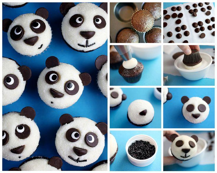 Hola queridas lectoras hoy les vamos a presentar una idea genial y muy fácil, se trata de unos simpáticos cupcakes de ositos panda ¡A los niños les van a e