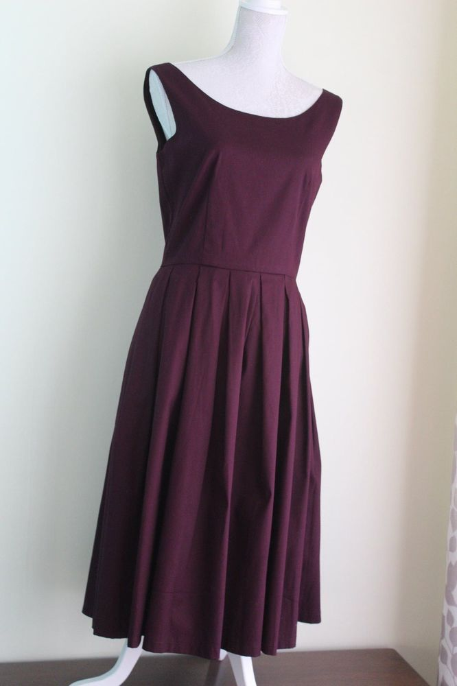 New Size 12 LINDY BOP Deep Damson Swing Dress Retro Vintage Look 50s BNWT