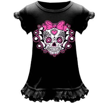 Super cute black a-line baby dress with punk and tattoo designs printed on them. $12