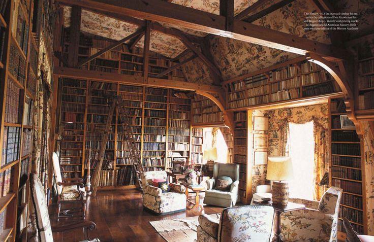 The library of San Miguel de Cárcano, a remote holiday estate in Córdoba, Argentina. Photograph by Ricardo Labougle.