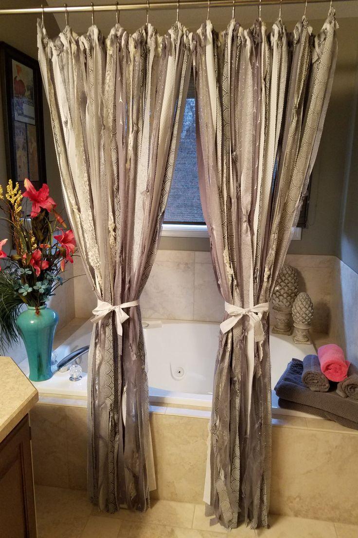 Boho Curtains Boho Shower Curtains Silver Glittery Curtains Ribbon Curtains  Fancy Shower Curtains Handmade Silver Cream
