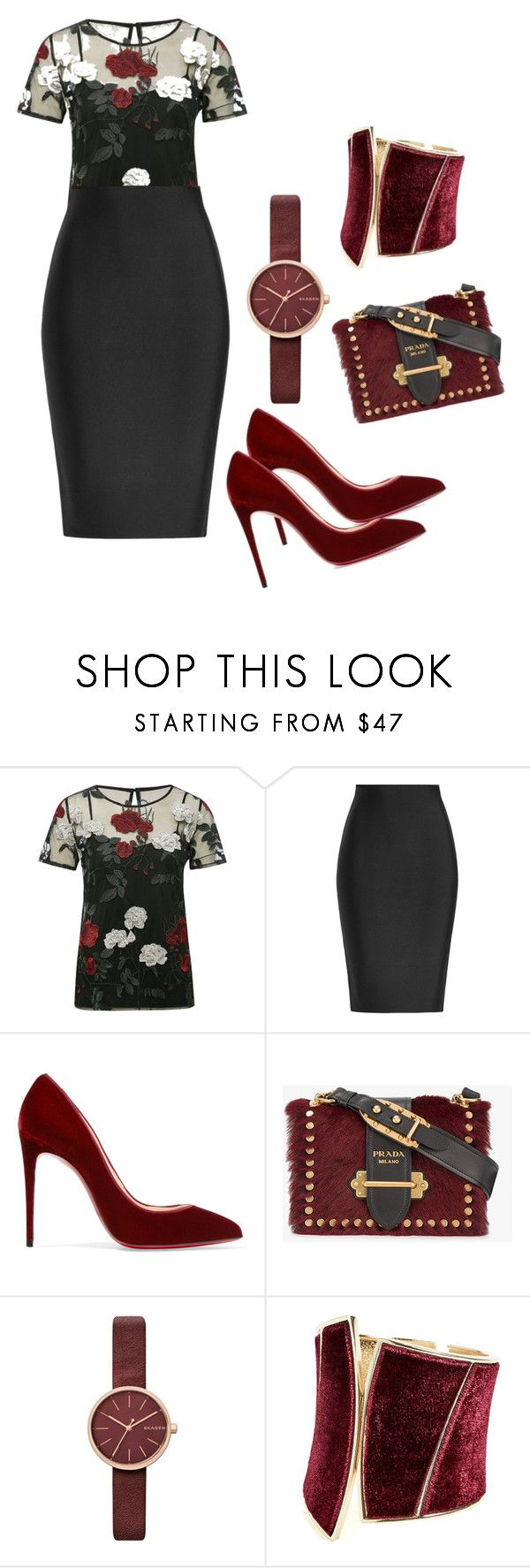 """Tendencia: rosas"" by yulita131 on Polyvore featuring M&Co, Roland Mouret, Christian Louboutin, Prada, Skagen and GUESS by Marciano"