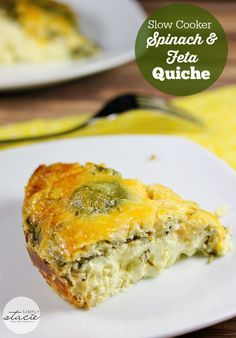 Slow Cooker Spinach & Feta Quiche - you won't even miss the crust on this delicious low carb recipe!