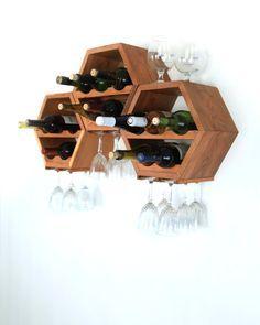 Hanging Wine Rack Wood Wine Rack Wine Storage por HaaseHandcraft