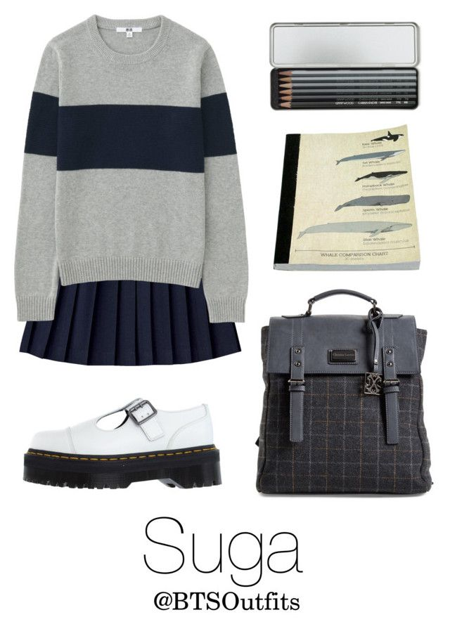 """""""School with Suga"""" by btsoutfits ❤ liked on Polyvore featuring Uniqlo, Dr. Martens, CXL by Christian Lacroix, HomArt and Caran D'Ache"""