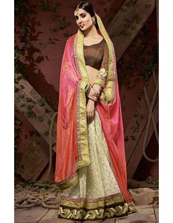 Classy Cream, Coral Pink and Salmon Orange #Saree
