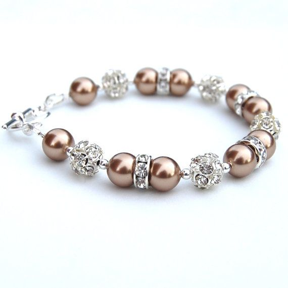 Bridesmaid Jewelry Bronze Pearl Rhinestone Bracelet