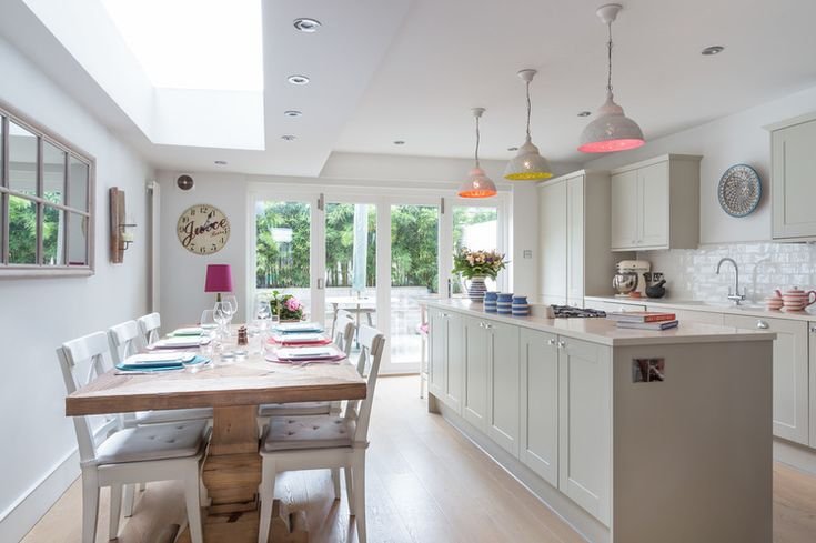 paint the insides of hanging lamps! Transitional Kitchen by Town House Interiors