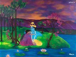 Radhe Krishna Love Natural Wall Painting, Krishna, Radha, Radha Krishna HD Wallpapers, Paintings, And Photoshootes
