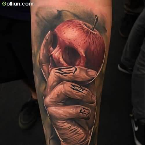 55  Most Scary Skull Apple Tattoos – Horrible Apple Tattoo Designs ...