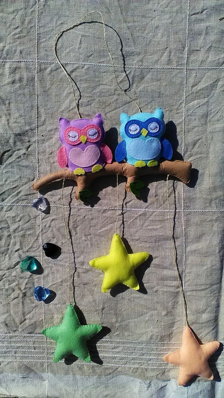 Owls-and-stars Felt Mobile by annahappymom on Etsy