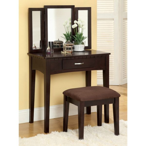 Furniture of America Jade 2-Piece Solid Wood Vanity Table and Stool... ($202) ❤ liked on Polyvore featuring home, furniture, tables, brown, colored furniture, timber furniture, drawer furniture, jewelry table and furniture of america