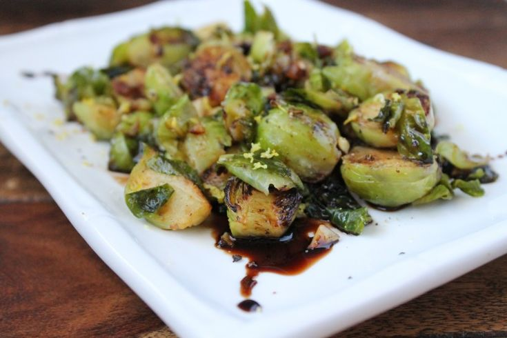 Lemon Garlic Brussel Sprouts with Balsamic Glaze - Healy Real Food Vegetarian