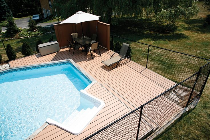 This is an onground pool in Waterdown Ontario with a low maintenance Xtendex deck built on 3 sides.