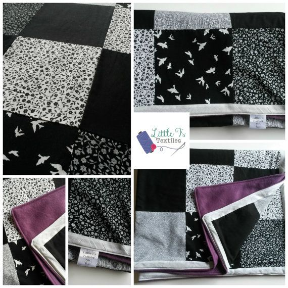 Throw Blanket Patchwork Blanket Handmade Black by LittleTsTextiles