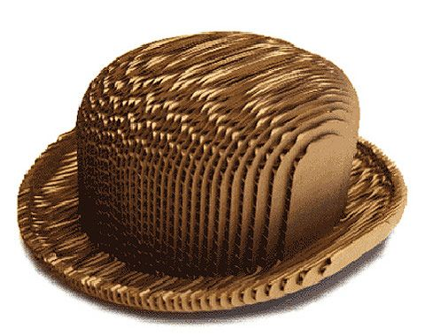 We're bowled over! Planet friendly, recycled corrugated cardboard bowler hat.