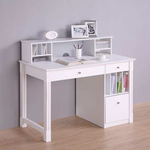 Walker Edison DW48D30-DHWH Deluxe White Wood Computer Desk with Hutch