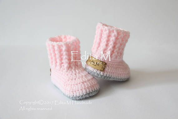 2c4e7ac72d3fb Crochet baby booties, baby girl booties, baby shoes, knitted baby ...