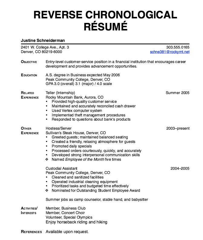 Reverse Chronological Resume - http://exampleresumecv.org/reverse-chronological-resume/